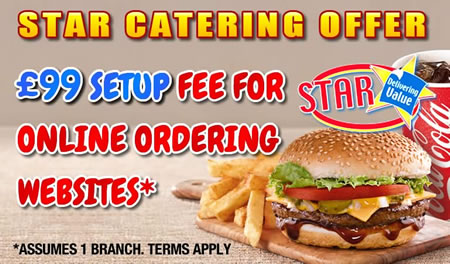 Get an online ordering website for your takeaway now with our £99 setup fee star catering offer