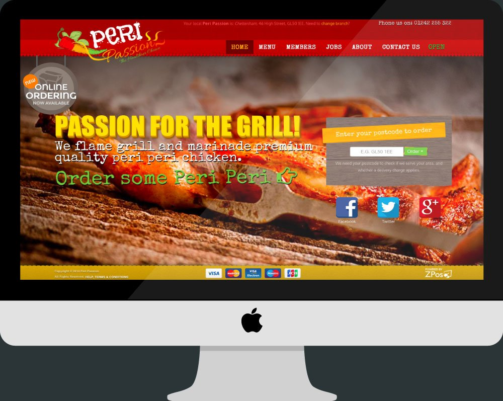 Peri Passion's Online Ordering Website on an iMac