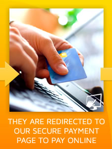 Step 2) They are redirected to our secure online ordering payment page to pay online