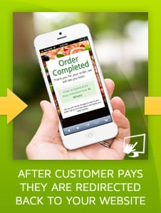 Step 3) After customer pays, they are redirected back to your online ordering website for online order confirmation